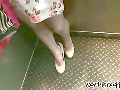 Filthy brunette girlfriend quickie sex at the elevator