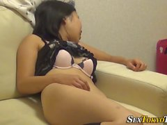 Japanese teen touches vag