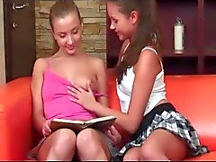 Hot school babe licking her girlfriends snatch for the first time