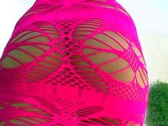 Big racked blond MILF Julia Ann in c thru pink dress