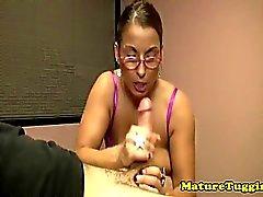Bigtit cougar milf gets spex sprayed with cum