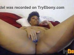 Ebony Sienna with huge butt fucks hairy twat