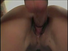 Pretty brunette sucks mullet dude's cock then bends over for doggy-style fuck