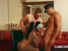 PornStar Kitty Core fucks in privat Threesome