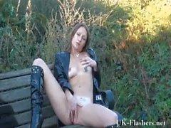 Sexy english milf Randy masturbating outdoors and flashing her local neighbourho