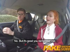 Fake Driving School Cute redhead Ella Hughes fucks and eats instructors cum