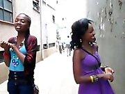 Black hotties share juicy kiss before having lesbian sex