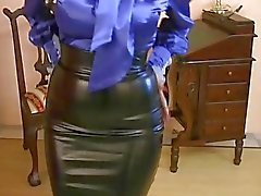 Babes satin outfit gets blasted with cum