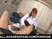 Arisa Ebihara rubs cock with feet and hairy labia before bonking