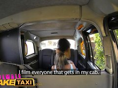 Female Fake Taxi Driver cums in fitness babes mouth