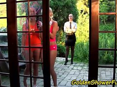 Outdoor lesbo pissed on
