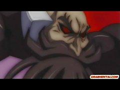 Netter japanische Anime- erhält lecken und harter Poked