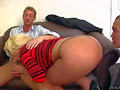 Big butt blonde Julie Cash in cuckold action