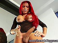 Big tits shemale redhead jerks off