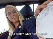Hot blonde stewardess gets her sweet ass slammed