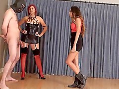 Male slave ballbusted to a mess