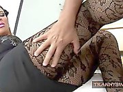 Blonde Tranny Gets Her Stockings Ripped