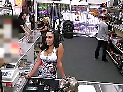 Busty latina slut wants to sell her phone ends up hammered