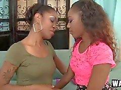 Superb ebony lesbian masturbating