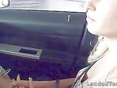 Blonde teen fucking in public garage