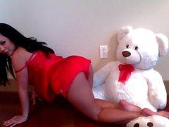 Sexy Brunette Playing Teddy Bear on Webcam