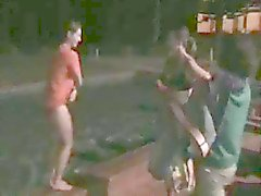 Public Nudity 3: Girls dared to strip, jump in pool and run
