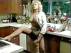 Vintage a pelliccia biondi di Brit Stevie Scopate in nella cucina
