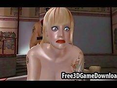 Blond 3D Cartoons Schätzchen mit den ein schönes Gesicht und die große Brüste