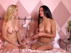 Topless brunette gets interviewed by Heather Vandeven