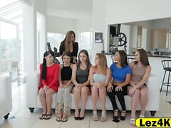 Aspiring beauty queens exploited by lesbian sexy manager