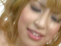 Cute and sweet Hatsuka Kobayashi plays with two hard dicks