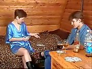 Russian mom and boy playing strip-poker