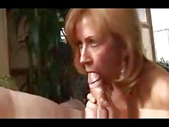 blonde milf, red lingerie best blowjob by RB