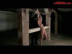 Girl Getting Tied To Pile Whipped Pussy Stimulated With Vibrator By Master In The Dungeon