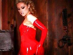 Gorgeous Sarah Peachez looks stunning in red latex