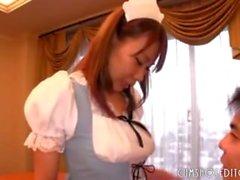 Amazing Busty Japanese Maid's Perfect Tits Enjoyed