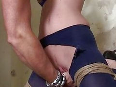 Ally S bound 3 ways vibed dildoed and machine-fucked