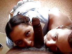 Husband & wife enjoy a black cock together