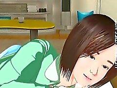 Do hentai bonito do 3D menina tem um sonho molhado