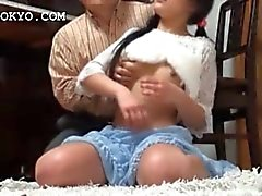 Asian busty teenage maid pussy teased upskirt