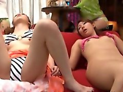 Young nippon in bikini gets fingered roughly