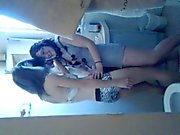 spying on 2 girls making out atacked by a dildo