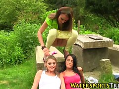 Pissing lesbo outdoor