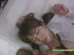 schoolgirl getting her hairy pussy fucked facial on the bed in the room segment