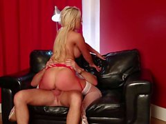 Cock riding blonde Sienna Day in white stockings