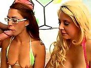Bikini sluts tag teaming big white cock
