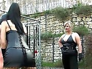 Femdoms whip sub outdoors