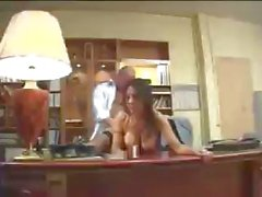 Busty Arab secretary keeps the boss happy by blowing his dick and getting nailed on the desk