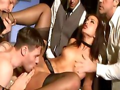 Brunette maid Simone in a gangbang gets licked and drilled