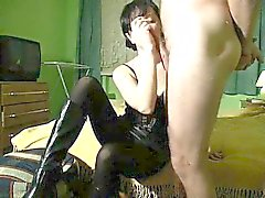 This vixen dressed up in dark loves to relax and perform wi